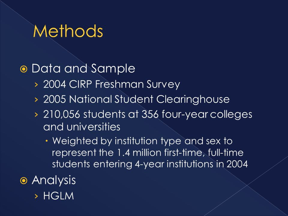  Data and Sample › 2004 CIRP Freshman Survey › 2005 National Student Clearinghouse › 210,056 students at 356 four-year colleges and universities  Weighted by institution type and sex to represent the 1.4 million first-time, full-time students entering 4-year institutions in 2004  Analysis › HGLM
