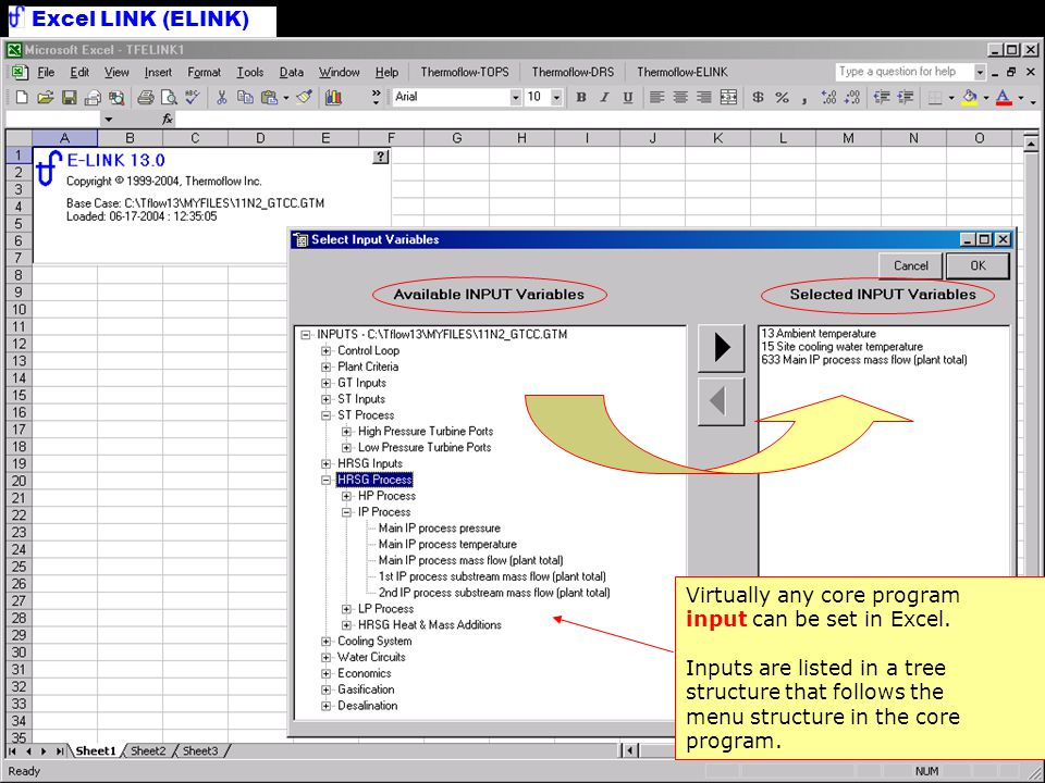 Excel LINK (ELINK) Select Inputs Virtually any core program input can be set in Excel. Inputs are listed in a tree structure that follows the menu str