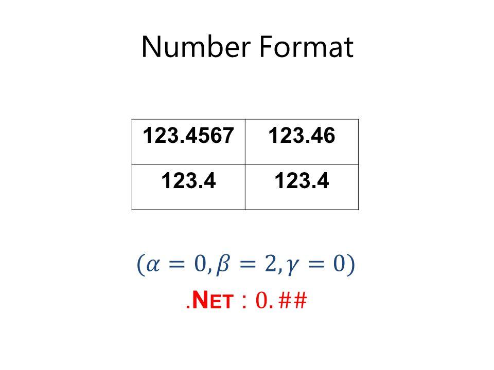 Number Format 123.4567123.46 123.4