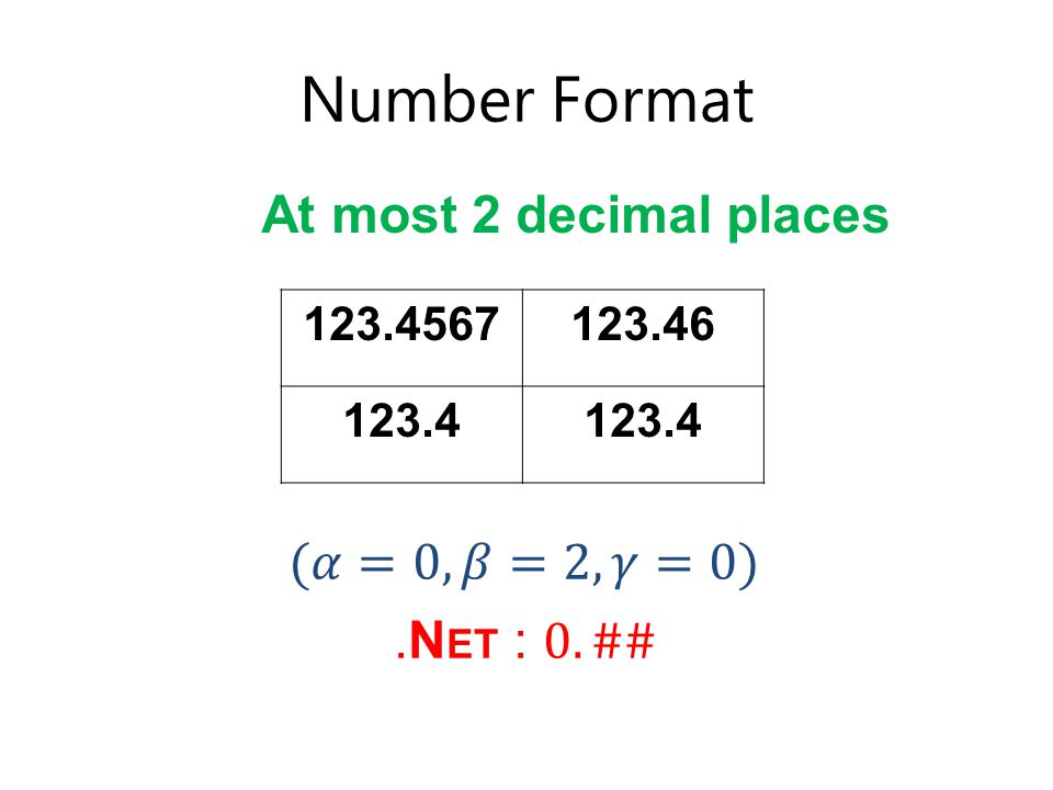 Number Format 123.4567123.46 123.4 At most 2 decimal places