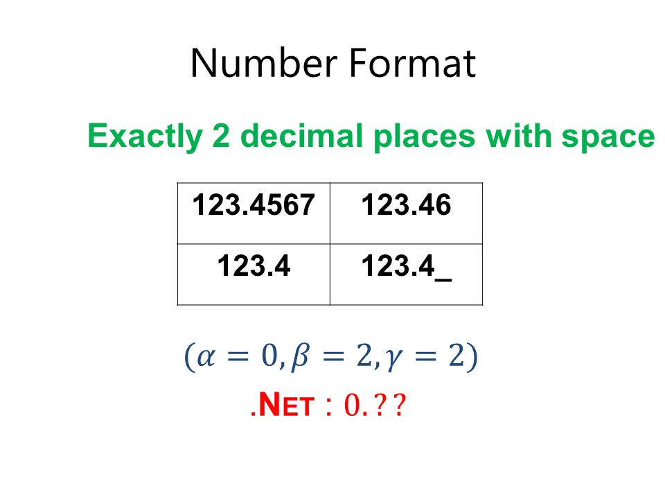 Number Format 123.4567123.46 123.4123.4_ Exactly 2 decimal places with space