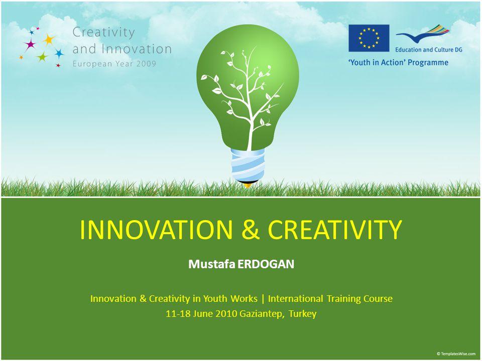 INNOVATION & CREATIVITY Mustafa ERDOGAN Innovation & Creativity in Youth Works | International Training Course 11-18 June 2010 Gaziantep, Turkey