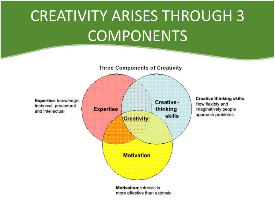 CREATIVITY ARISES THROUGH 3 COMPONENTS