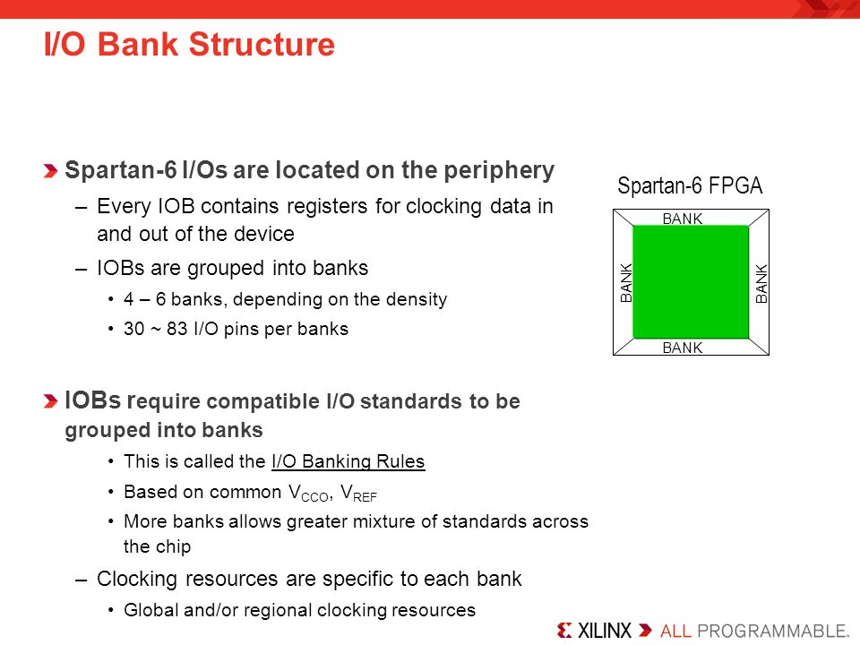 I/O Bank Structure Spartan-6 I/Os are located on the periphery –Every IOB contains registers for clocking data in and out of the device –IOBs are grouped into banks 4 – 6 banks, depending on the density 30 ~ 83 I/O pins per banks IOBs r equire compatible I/O standards to be grouped into banks This is called the I/O Banking Rules Based on common V CCO, V REF More banks allows greater mixture of standards across the chip –Clocking resources are specific to each bank Global and/or regional clocking resources BANK Spartan-6 FPGA