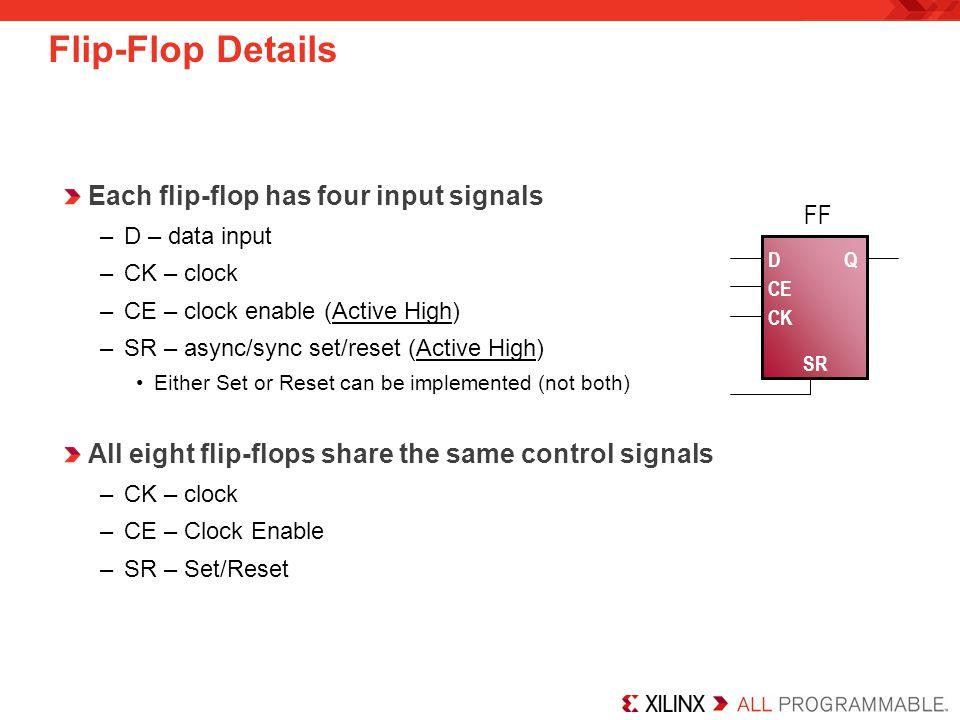 Each flip-flop has four input signals –D – data input –CK – clock –CE – clock enable (Active High) –SR – async/sync set/reset (Active High) Either Set or Reset can be implemented (not both) All eight flip-flops share the same control signals –CK – clock –CE – Clock Enable –SR – Set/Reset Flip-Flop Details D CE SR Q FF CK