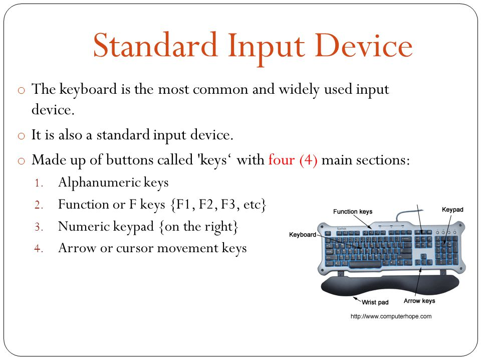 Standard Input Device o The keyboard is the most common and widely used input device.