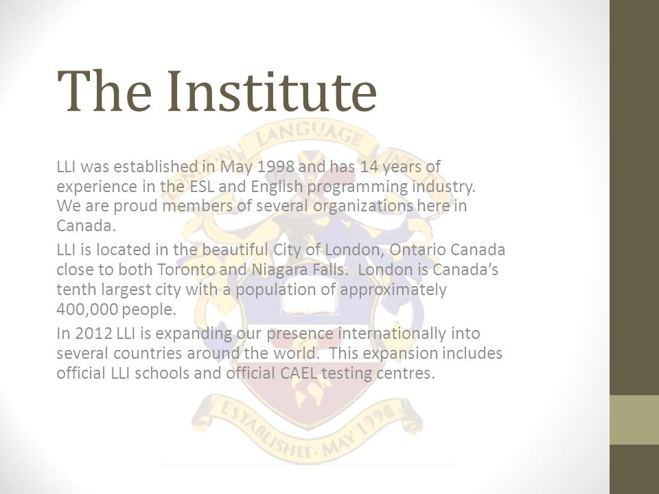 LLI Speciality Programs LLI offers speciality programs in a number of different areas including medicine, business and flight training.