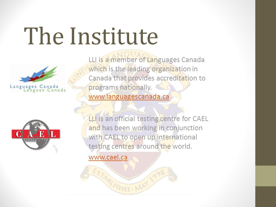 The Institute LLI was established in May 1998 and has 14 years of experience in the ESL and English programming industry.