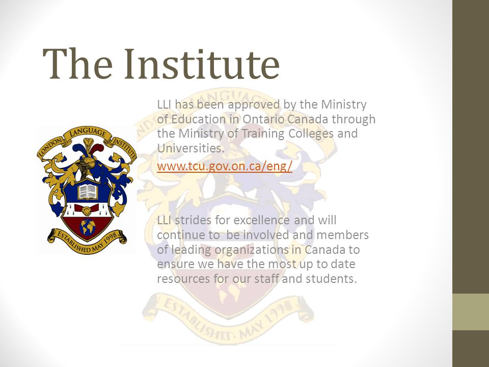 The Institute LLI has been offering iBT TOEFL testing and a preparation at our main campus in Canada since 2006.