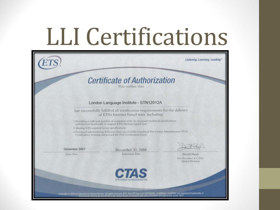 LLI Certifications.