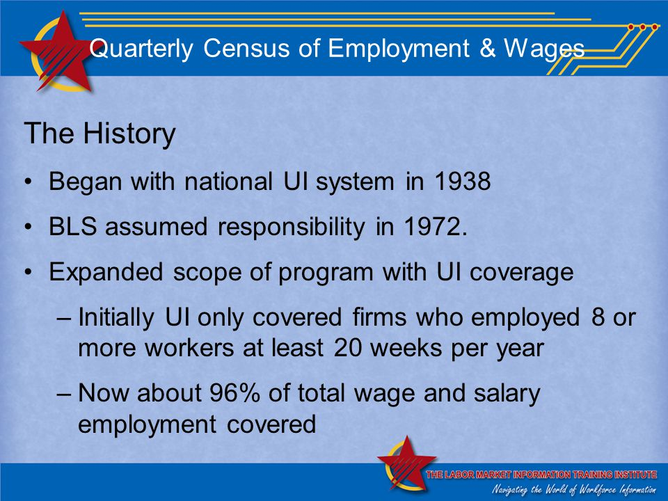 Quarterly Census of Employment & Wages The History Began with national UI system in 1938 BLS assumed responsibility in 1972.