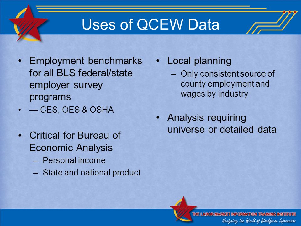 Uses of QCEW Data Employment benchmarks for all BLS federal/state employer survey programs — CES, OES & OSHA Critical for Bureau of Economic Analysis –Personal income –State and national product Local planning –Only consistent source of county employment and wages by industry Analysis requiring universe or detailed data
