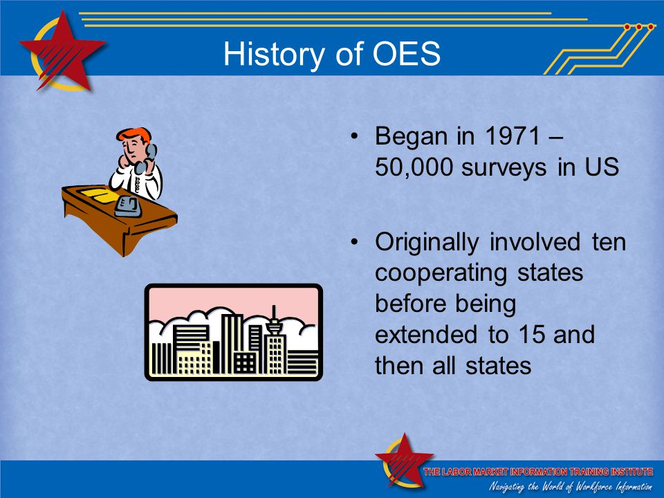 History of OES Began in 1971 – 50,000 surveys in US Originally involved ten cooperating states before being extended to 15 and then all states
