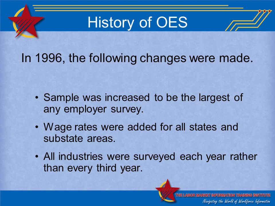 History of OES In 1996, the following changes were made.