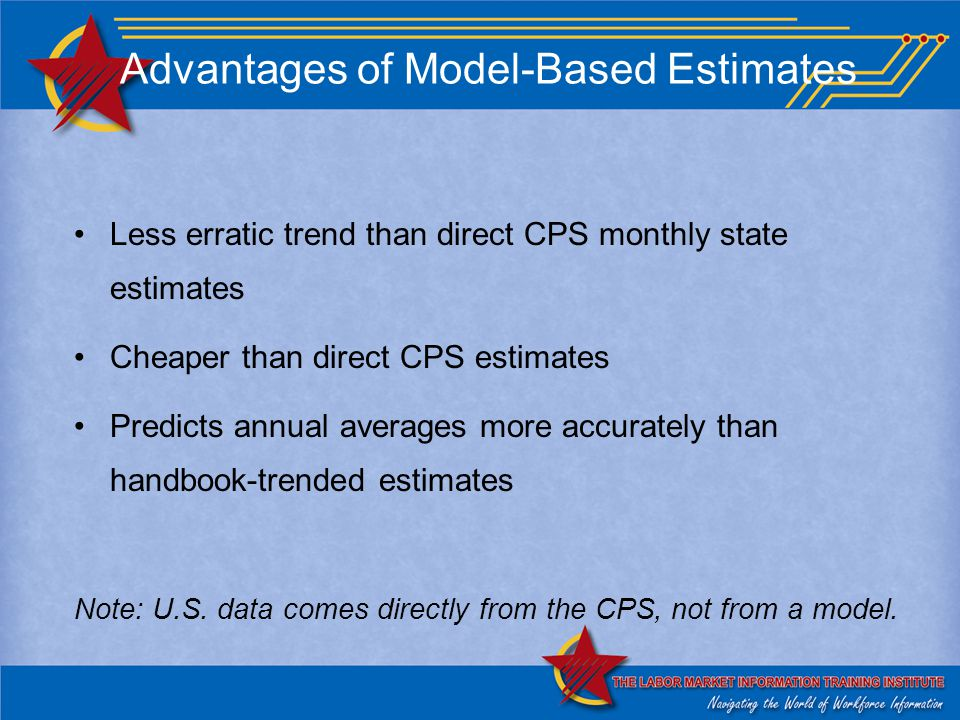 Advantages of Model-Based Estimates Less erratic trend than direct CPS monthly state estimates Cheaper than direct CPS estimates Predicts annual averages more accurately than handbook-trended estimates Note: U.S.