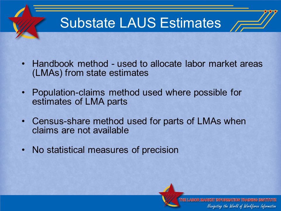 Substate LAUS Estimates Handbook method - used to allocate labor market areas (LMAs) from state estimates Population-claims method used where possible for estimates of LMA parts Census-share method used for parts of LMAs when claims are not available No statistical measures of precision
