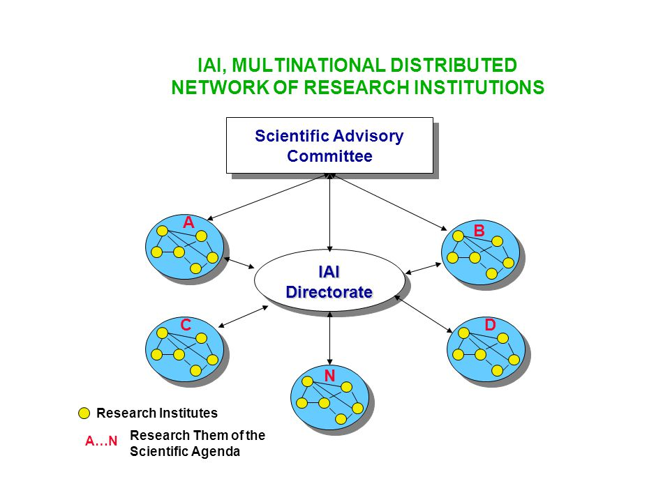 IAI, MULTINATIONAL DISTRIBUTED NETWORK OF RESEARCH INSTITUTIONS Scientific Advisory Committee IAI Directorate A CD B Research Institutes Research Them
