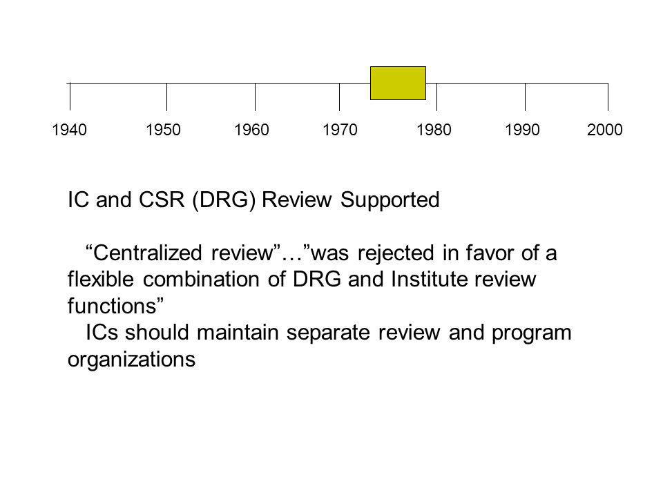 """1940196019501970198019902000 IC and CSR (DRG) Review Supported """"Centralized review""""…""""was rejected in favor of a flexible combination of DRG and Instit"""