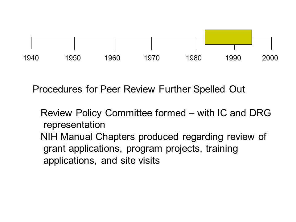 1940196019501970198019902000 Procedures for Peer Review Further Spelled Out Review Policy Committee formed – with IC and DRG representation NIH Manual