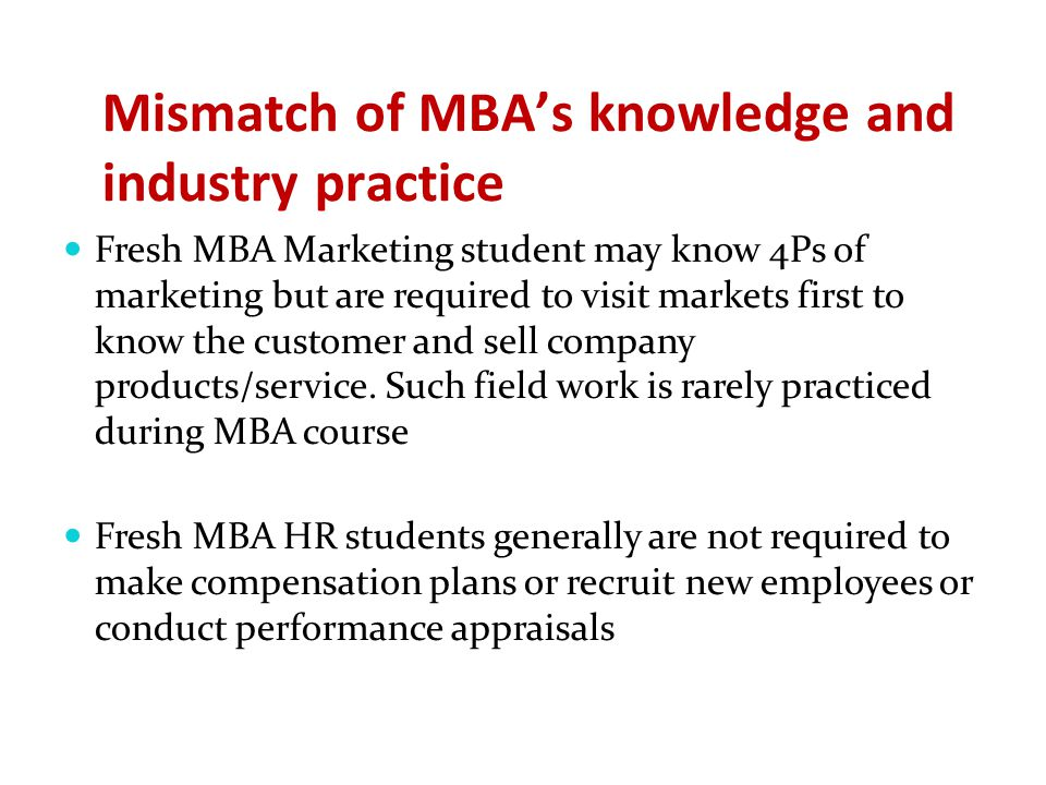Mismatch of MBA's knowledge and industry practice Fresh MBA Marketing student may know 4Ps of marketing but are required to visit markets first to kno