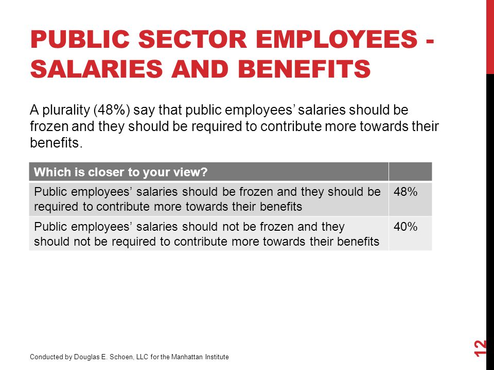 PUBLIC SECTOR EMPLOYEES - SALARIES AND BENEFITS 12 Which is closer to your view.