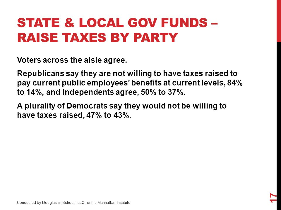 STATE & LOCAL GOV FUNDS – RAISE TAXES BY PARTY 17 Voters across the aisle agree.
