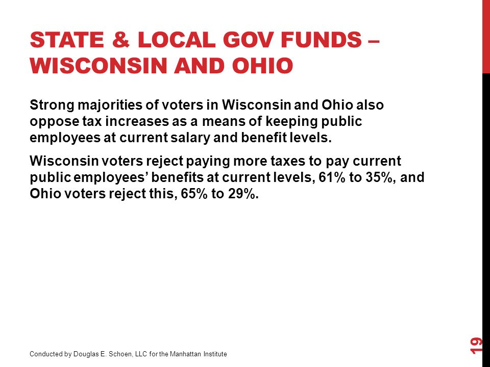 STATE & LOCAL GOV FUNDS – WISCONSIN AND OHIO 19 Strong majorities of voters in Wisconsin and Ohio also oppose tax increases as a means of keeping public employees at current salary and benefit levels.