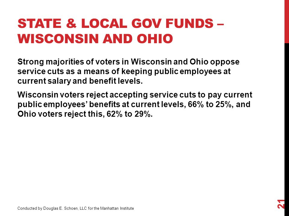 STATE & LOCAL GOV FUNDS – WISCONSIN AND OHIO 21 Strong majorities of voters in Wisconsin and Ohio oppose service cuts as a means of keeping public employees at current salary and benefit levels.