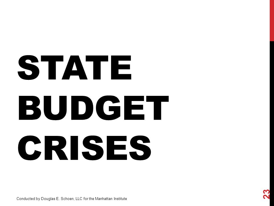 STATE BUDGET CRISES 23 Conducted by Douglas E. Schoen, LLC for the Manhattan Institute