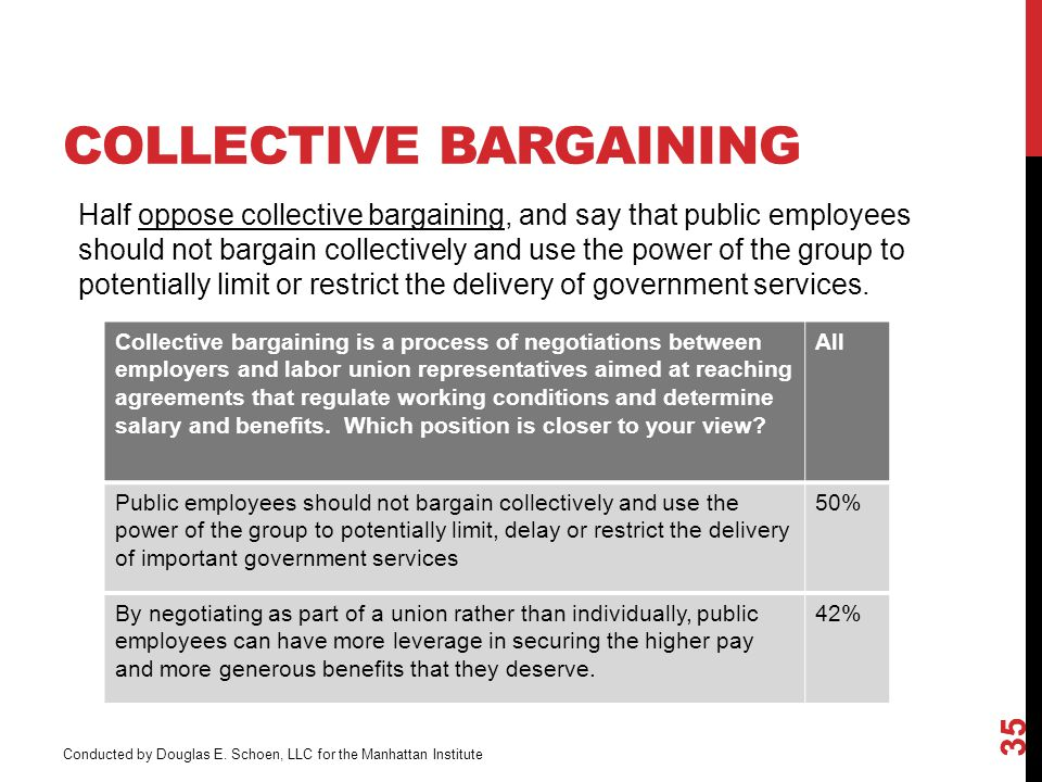 COLLECTIVE BARGAINING 35 Collective bargaining is a process of negotiations between employers and labor union representatives aimed at reaching agreements that regulate working conditions and determine salary and benefits.