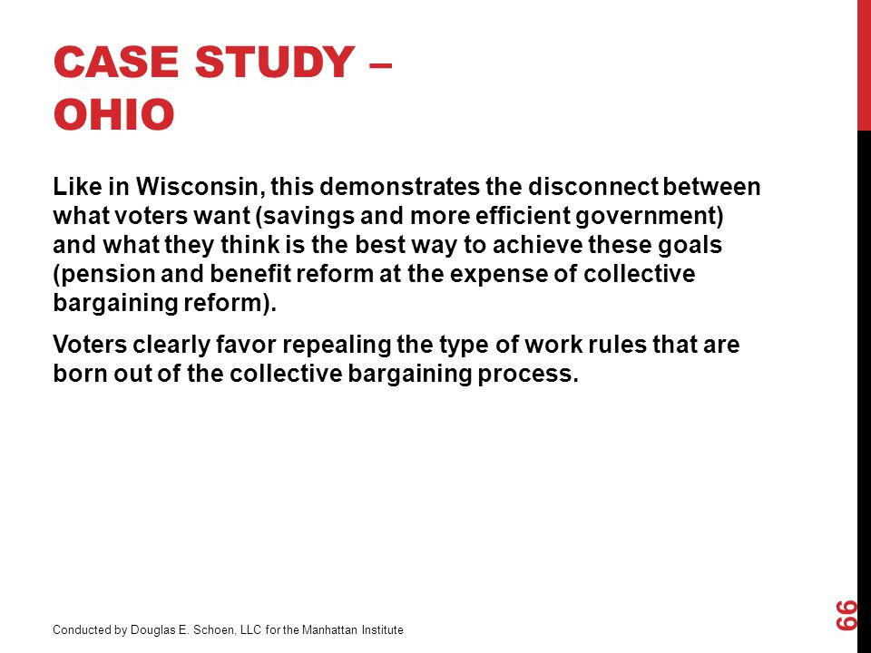 CASE STUDY – OHIO Like in Wisconsin, this demonstrates the disconnect between what voters want (savings and more efficient government) and what they think is the best way to achieve these goals (pension and benefit reform at the expense of collective bargaining reform).