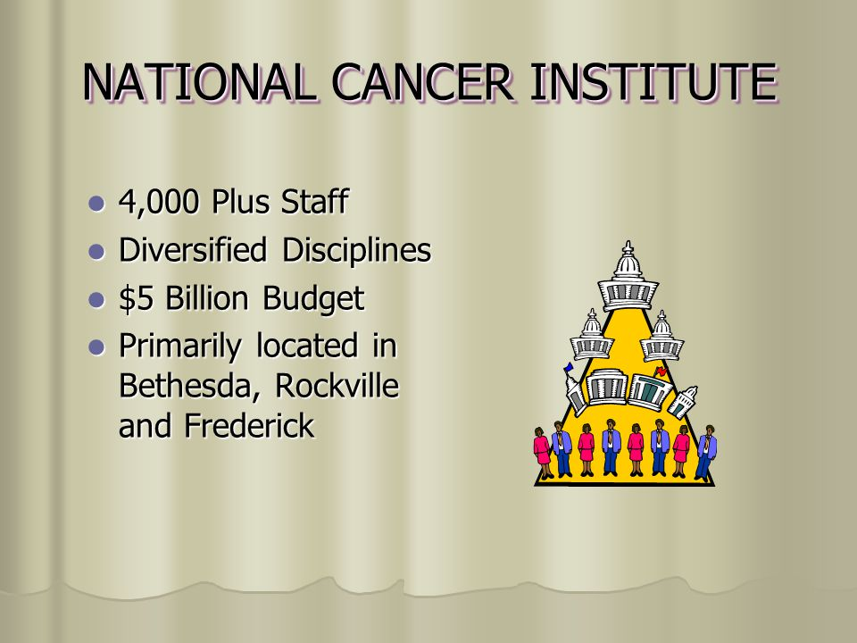 NATIONAL CANCER INSTITUTE 4,000 Plus Staff Diversified Disciplines $5 Billion Budget Primarily located in Bethesda, Rockville and Frederick