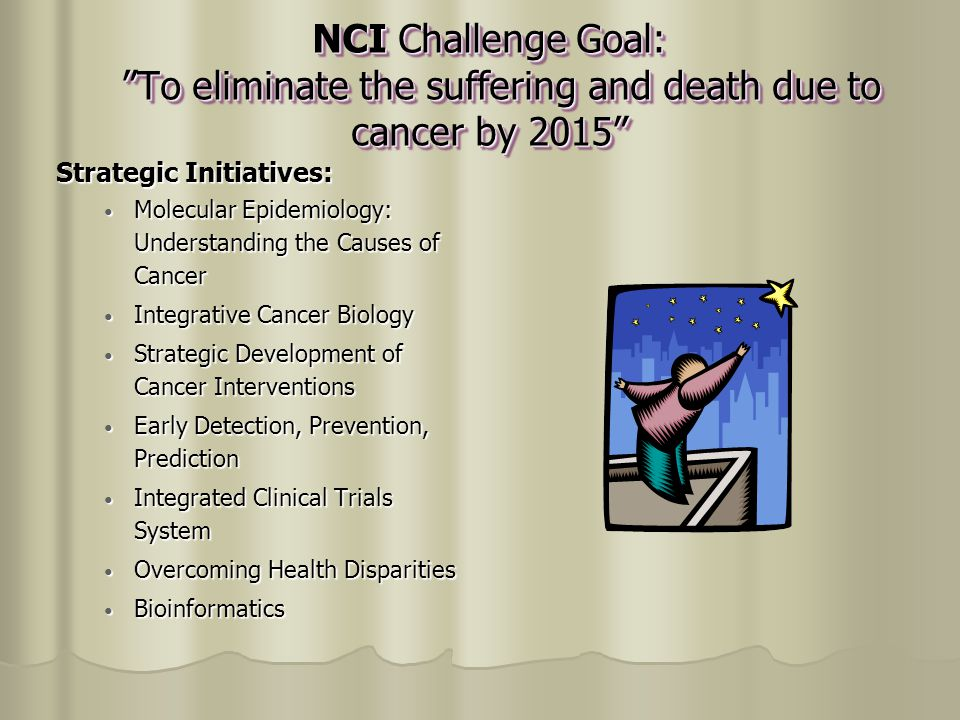 NCI Challenge Goal: To eliminate the suffering and death due to cancer by 2015 NCI Challenge Goal: To eliminate the suffering and death due to cancer by 2015 Strategic Initiatives: Molecular Epidemiology: Understanding the Causes of Cancer Molecular Epidemiology: Understanding the Causes of Cancer Integrative Cancer Biology Integrative Cancer Biology Strategic Development of Cancer Interventions Strategic Development of Cancer Interventions Early Detection, Prevention, Prediction Early Detection, Prevention, Prediction Integrated Clinical Trials System Integrated Clinical Trials System Overcoming Health Disparities Overcoming Health Disparities Bioinformatics Bioinformatics