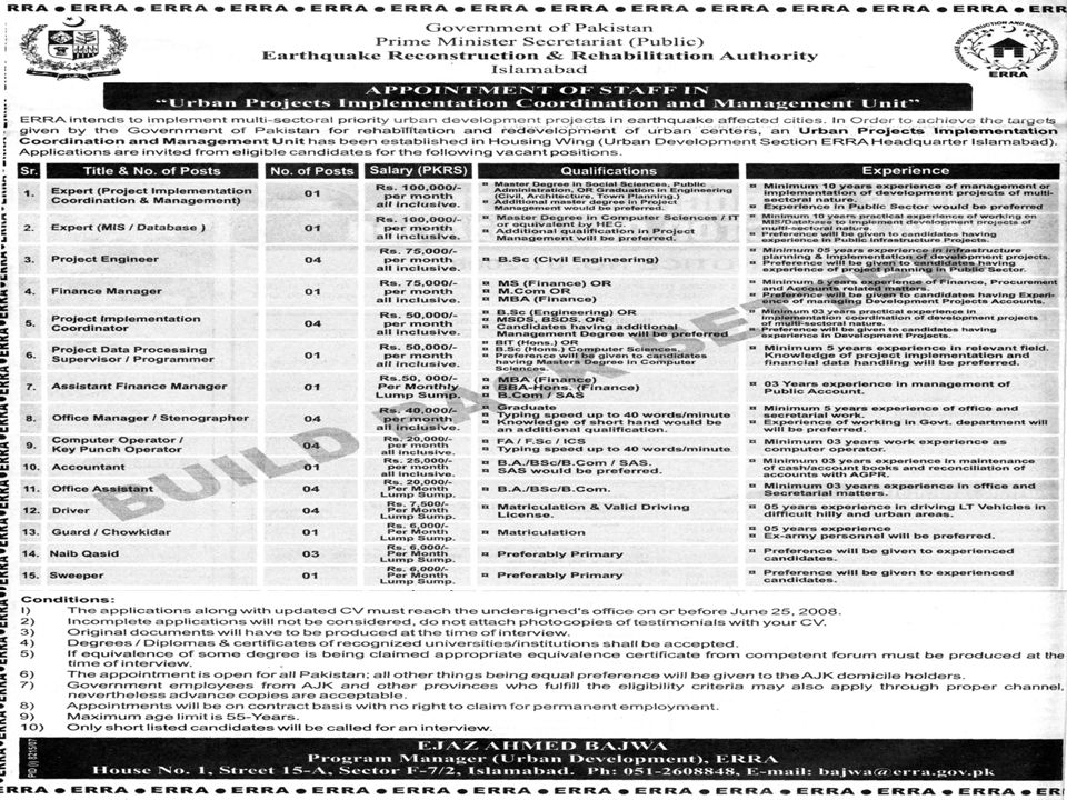 Department of Management Sciences, COMSATS Institute of Information Technology, Islamabad, Pakistan 5 Sample Project Job Advertisements