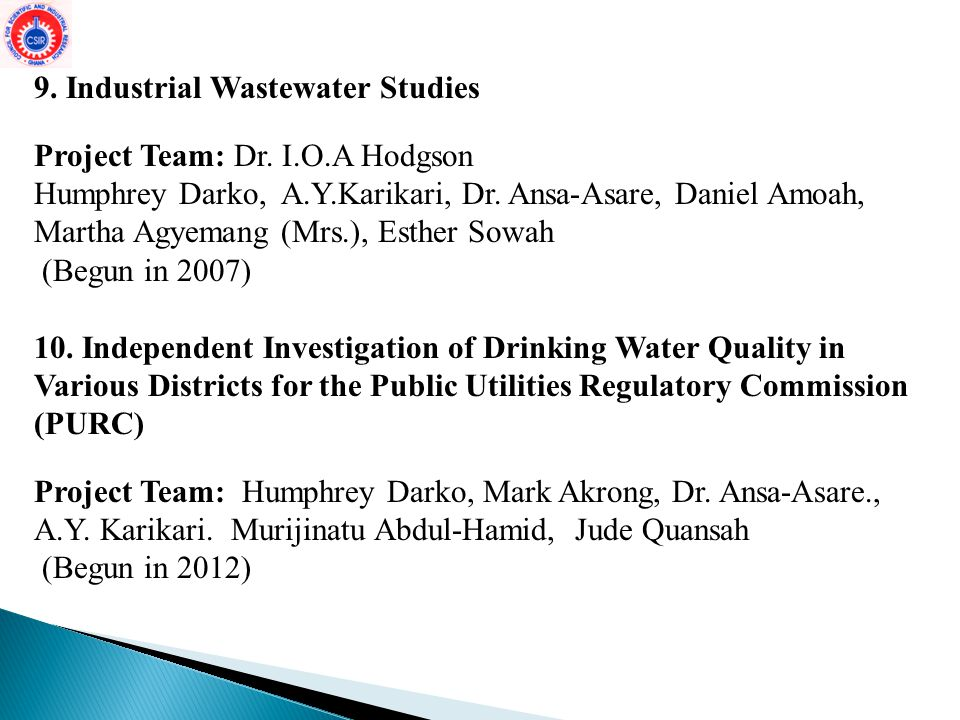 9.Industrial Wastewater Studies Project Team: Dr.