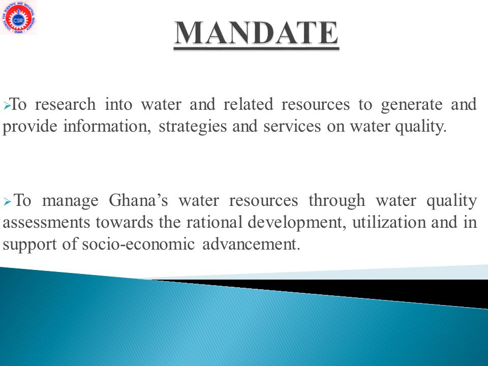  To research into water and related resources to generate and provide information, strategies and services on water quality.
