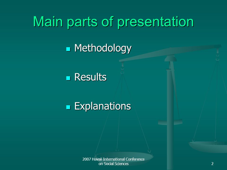 2007 Havaii International Conference on Social Sciences2 Main parts of presentation Methodology Methodology Results Results Explanations Explanations