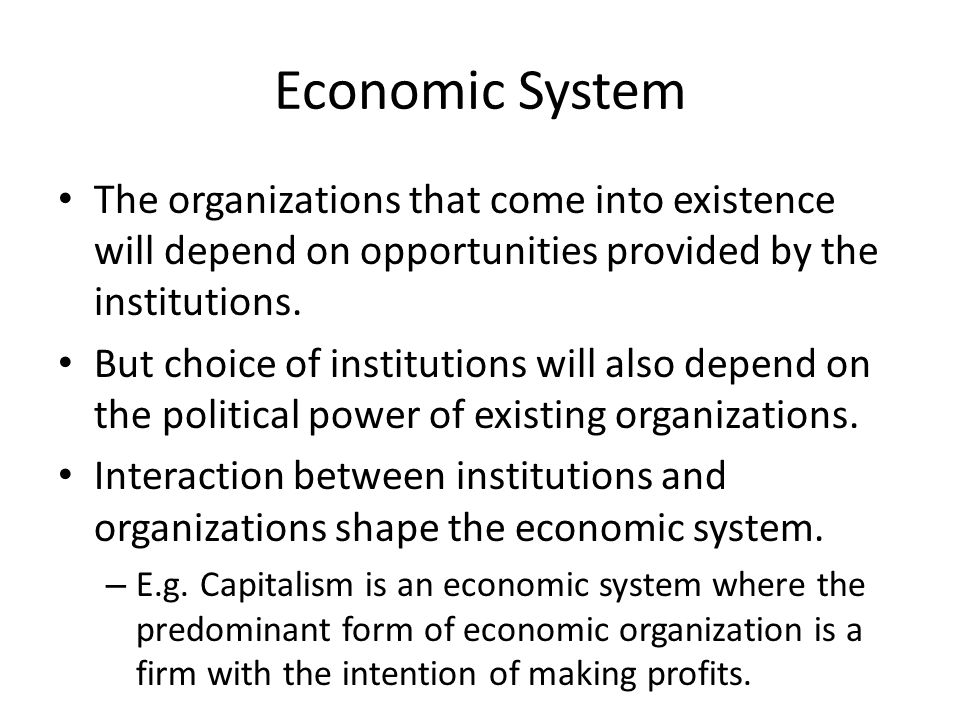 Economic System The organizations that come into existence will depend on opportunities provided by the institutions.