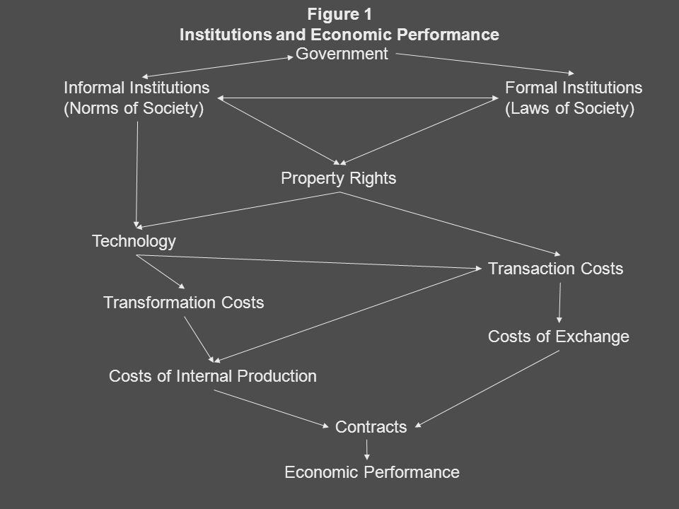 Government Informal Institutions (Norms of Society) Formal Institutions (Laws of Society) Property Rights Technology Transaction Costs Transformation