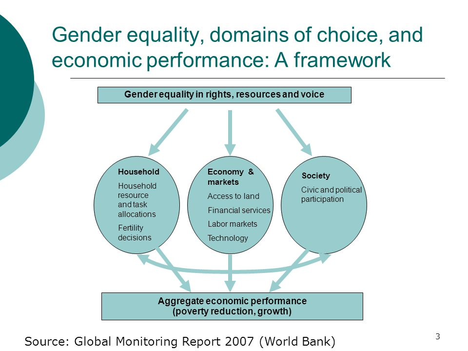 3 Gender equality, domains of choice, and economic performance: A framework Aggregate economic performance (poverty reduction, growth) Gender equality in rights, resources and voice Household Household resource and task allocations Fertility decisions Economy & markets Access to land Financial services Labor markets Technology Society Civic and political participation Source: Global Monitoring Report 2007 (World Bank)