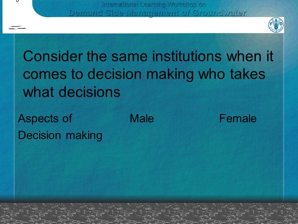 Consider the same institutions when it comes to decision making who takes what decisions Aspects of Male Female Decision making