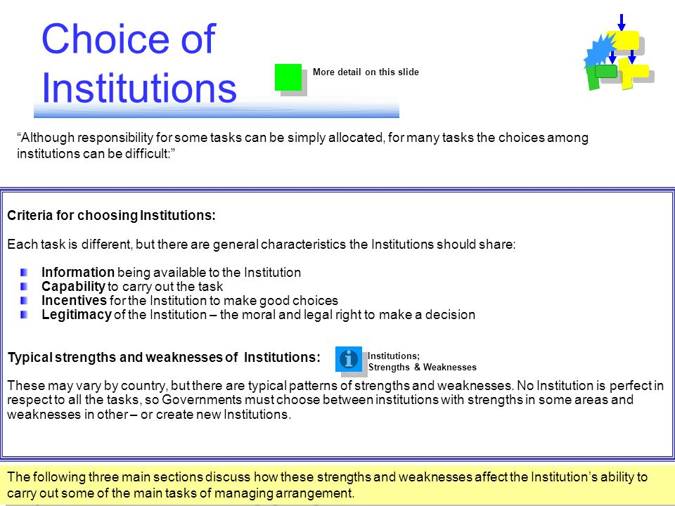 Although responsibility for some tasks can be simply allocated, for many tasks the choices among institutions can be difficult: Choice of Institutions Criteria for choosing Institutions: Each task is different, but there are general characteristics the Institutions should share: Information being available to the Institution Capability to carry out the task Incentives for the Institution to make good choices Legitimacy of the Institution – the moral and legal right to make a decision Typical strengths and weaknesses of Institutions: These may vary by country, but there are typical patterns of strengths and weaknesses.