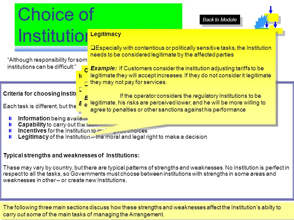 Although responsibility for some tasks can be simply allocated, for many tasks the choices among institutions can be difficult: Choice of Institutions (Insight) Criteria for choosing Institutions: Each task is different, but there are general characteristics the Institutions should share: Information being available to the Institution Capability to carry out the task Incentives for the Institution to make good choices Legitimacy of the Institution – the moral and legal right to make a decision Typical strengths and weaknesses of Institutions: These may vary by country, but there are typical patterns of strengths and weaknesses.