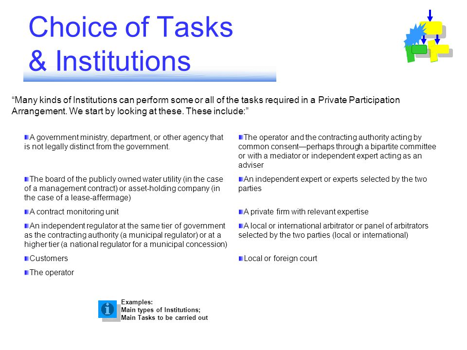 Many kinds of Institutions can perform some or all of the tasks required in a Private Participation Arrangement.