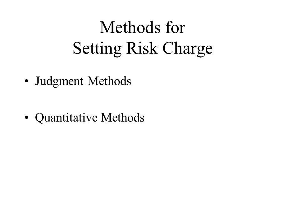 Judgment Methods Risk Premium based on –Prior products –Market prices –Comfort with particular risks –Relative perceived risk of company products