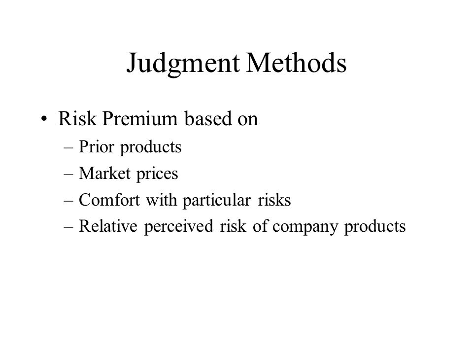 Quantitative Methods 1.Charge for Risk Capital 2.Risk Adjusted Hurdle Rates 3.Adjusted Target Calculation 4.Replication