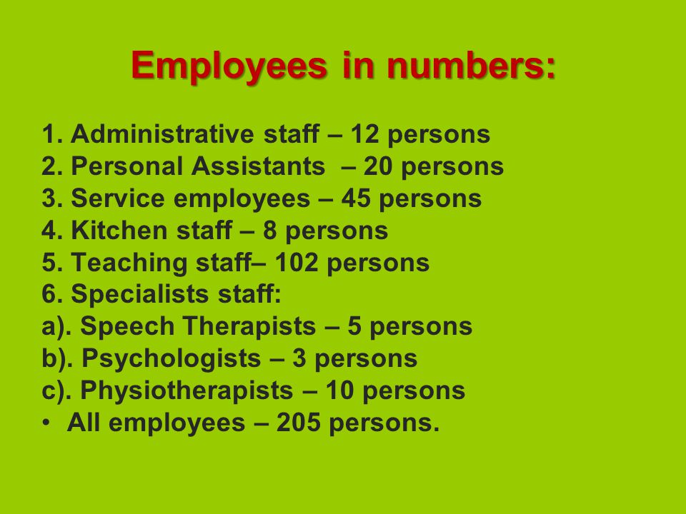Employees in numbers: 1. Administrative staff – 12 persons 2.