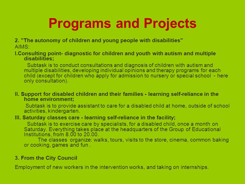Programs and Projects 2.