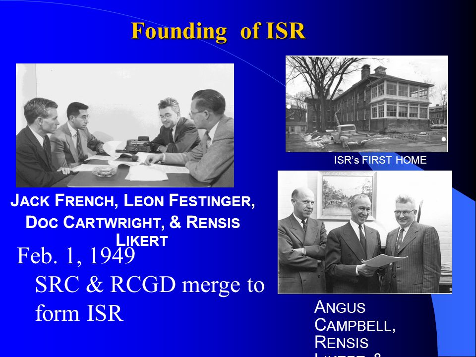 Founding of ISR J ACK F RENCH, L EON F ESTINGER, D OC C ARTWRIGHT, & R ENSIS L IKERT A NGUS C AMPBELL, R ENSIS L IKERT, & 'D OC ' C ARTWRIGHT ISR's FIRST HOME Feb.