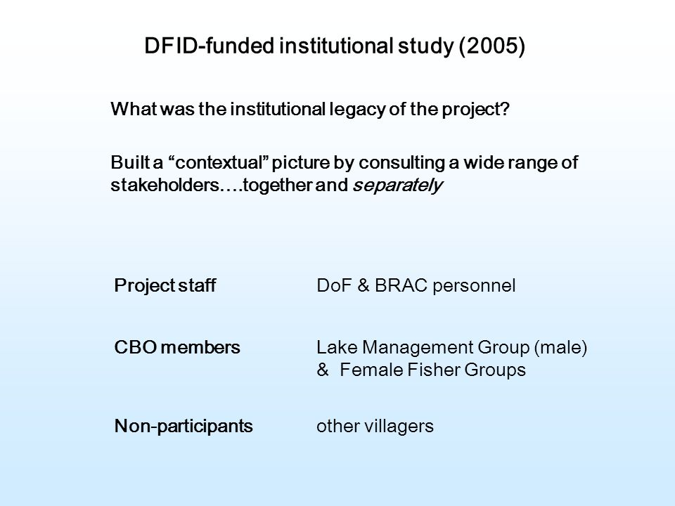 DFID-funded institutional study (2005) What was the institutional legacy of the project.